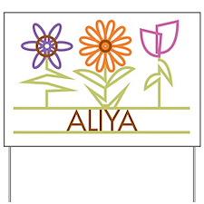 Aliya with cute flowers Yard Sign