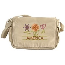 America with cute flowers Messenger Bag