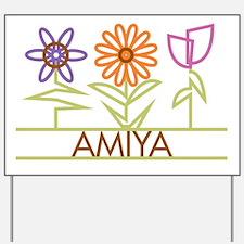 Amiya with cute flowers Yard Sign