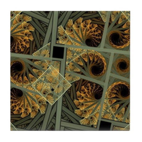Escher Grey-Fern Tile Coaster