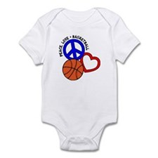 Peace, Love, Basketball Infant Bodysuit