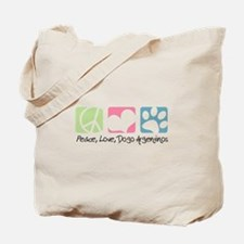 Peace, Love, Dogo Argentinos Tote Bag