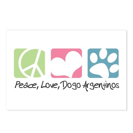 Peace, Love, Dogo Argentinos Postcards (Package of