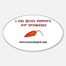 I Eat Ghost Peppers for Break Sticker (Oval)