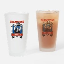rugby champions france Drinking Glass