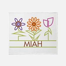 Miah with cute flowers Throw Blanket
