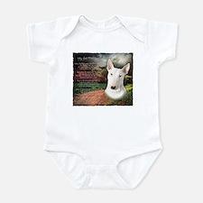 """""""Why God Made Dogs"""" Bull Terrier Infant Bodysuit"""