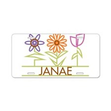 Janae with cute flowers Aluminum License Plate