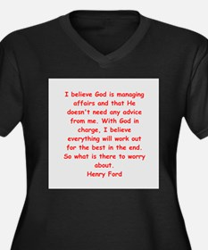 Henry Ford quotes Women's Plus Size V-Neck Dark T-