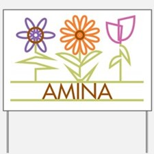 Amina with cute flowers Yard Sign