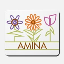 Amina with cute flowers Mousepad