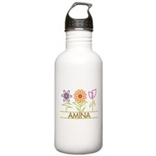 Amina with cute flowers Water Bottle