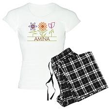 Amina with cute flowers Pajamas