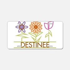 Destinee with cute flowers Aluminum License Plate