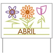 Abril with cute flowers Yard Sign