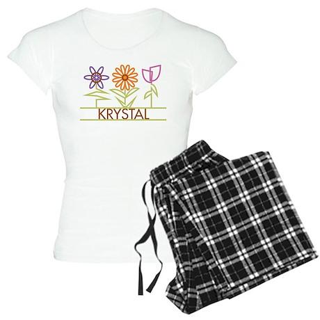 Krystal with cute flowers Women's Light Pajamas