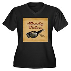 Shady Drive Women's Plus Size V-Neck Dark T-Shirt