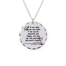 Hanh Smile Quote Necklace Circle Charm