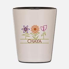 Chaya with cute flowers Shot Glass