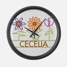 Cecelia with cute flowers Large Wall Clock