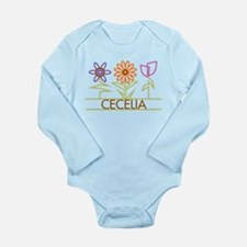 Cecelia with cute flowers Long Sleeve Infant Bodys