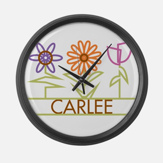 Carlee with cute flowers Large Wall Clock