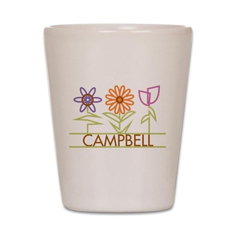 Campbell with cute flowers Shot Glass