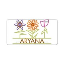 Aryana with cute flowers Aluminum License Plate