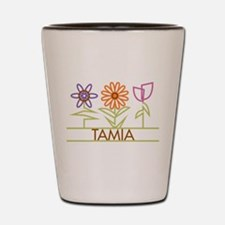 Tamia with cute flowers Shot Glass