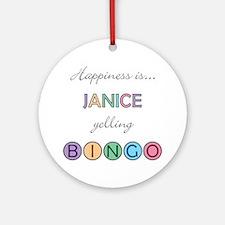 Janice BINGO Round Ornament