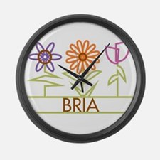 Bria with cute flowers Large Wall Clock
