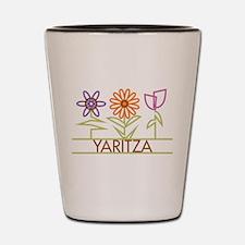 Yaritza with cute flowers Shot Glass