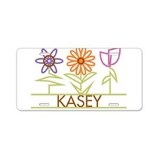 Kasey with cute flowers Aluminum License Plate