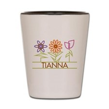 Tianna with cute flowers Shot Glass