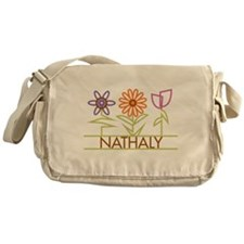 Nathaly with cute flowers Messenger Bag