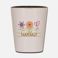 Nathaly with cute flowers Shot Glass