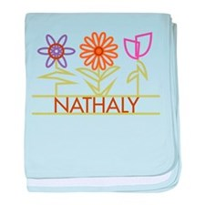 Nathaly with cute flowers baby blanket