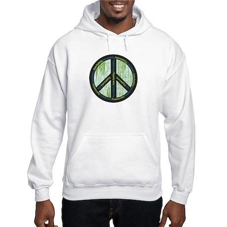 Peace. Calming Teal. Hooded Sweatshirt