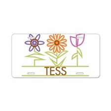 Tess with cute flowers Aluminum License Plate