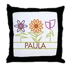 Paula with cute flowers Throw Pillow