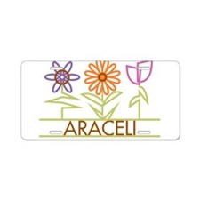 Araceli with cute flowers Aluminum License Plate