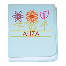 Aliza with cute flowers baby blanket
