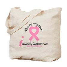 With All My Heart Breast Cancer Tote Bag