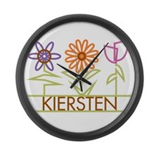 Kiersten with cute flowers Large Wall Clock