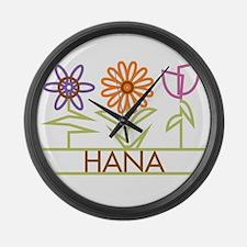Hana with cute flowers Large Wall Clock