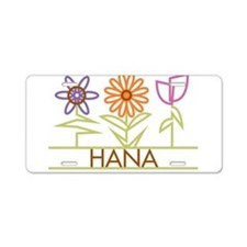 Hana with cute flowers Aluminum License Plate