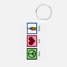 Peace Love Debate Keychains