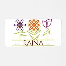 Raina with cute flowers Aluminum License Plate