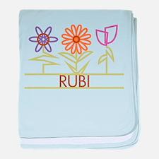 Rubi with cute flowers baby blanket