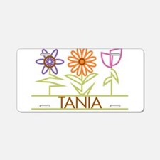 Tania with cute flowers Aluminum License Plate